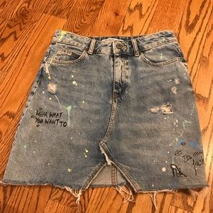 Zara Painted Denim Skirt